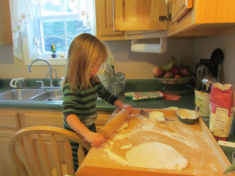 Skye rolls out the dough for her apple pie