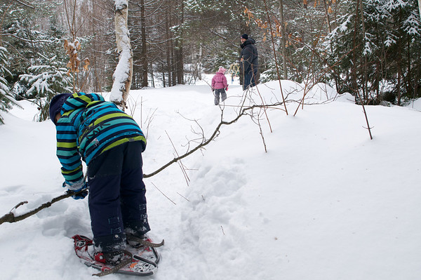 Time for some snow shoe-ing.  Look what I can do to this tree mom!
