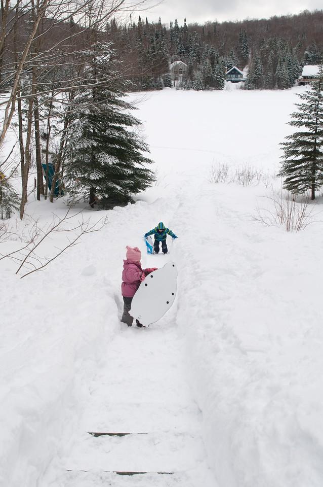 Sledding and Skiing at Lac Vert