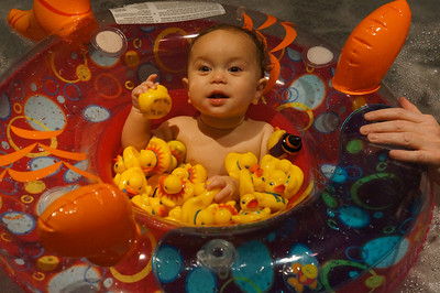 "Floating with the rubber duckies in the ""warm"" tub"