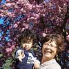 Sunny Grandma and Jaden under the cherry blossoms