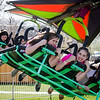 Brianna Devarney, Angel Torres and Lucia Gallo ride the cliffhanger at the St. Bernard's Spring Carnival on Thursday afternoon during April vacation for the local schools. SENTINEL & ENTERPRISE / Ashley Green