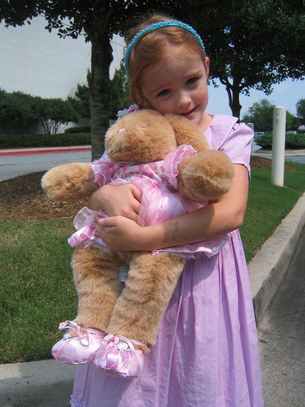 Caroline with her ballerina bunny Kameni.
