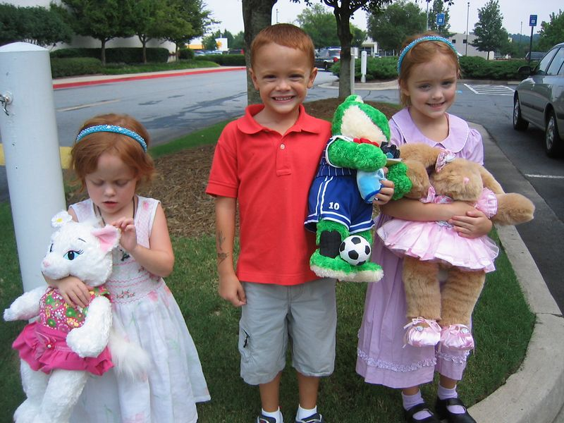 They LOVE their new friends Essa the cat, Soccer Hero the frog, and Kameni the bunny.
