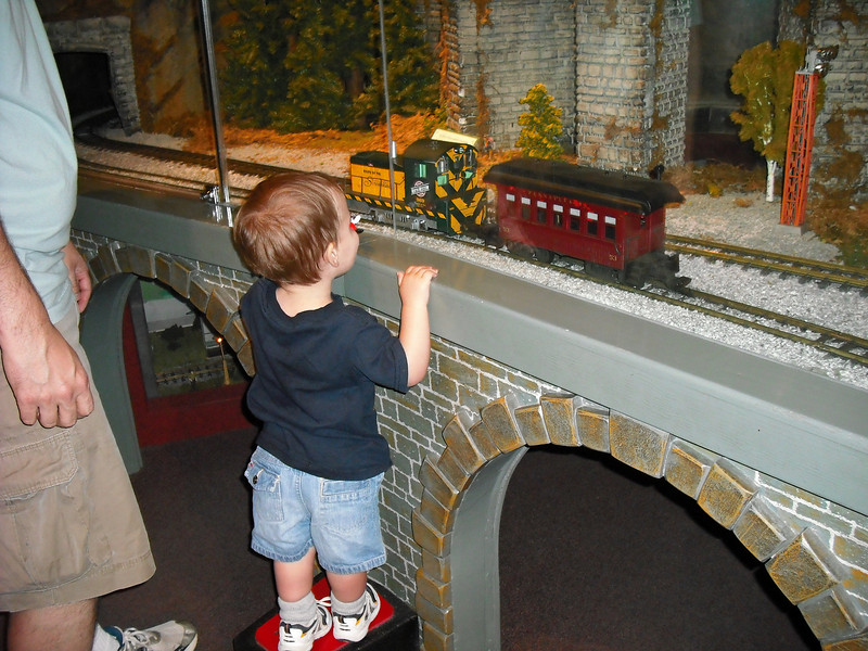 Zach's first trip to Children's Museum being mobile!!!  He was so sick all winter that we really avoided the CM...<br /> <br /> Enjoying the trains.