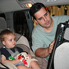 Daddy getting Peter Pan ready on the car DVD