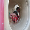Mom, Jaden and Cyane coming through the tunnel