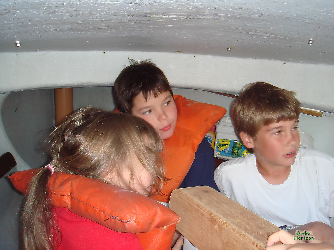 Hiding from the sail boom