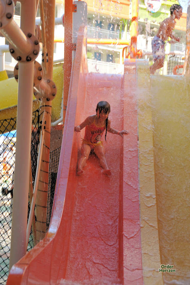 Alice's first day on water slides