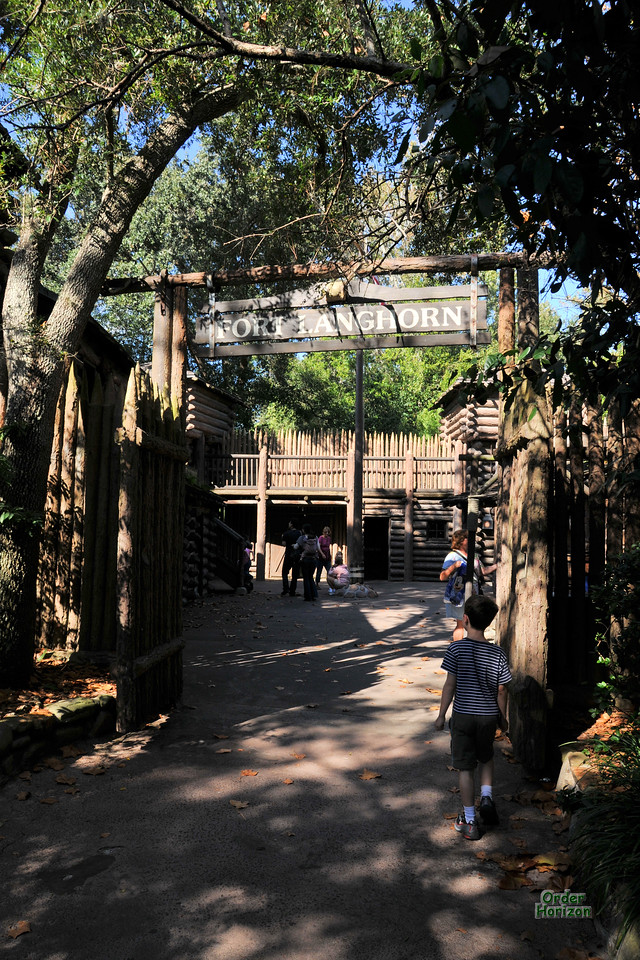 Charles enters Fort Langhorn on Tom Sawyer's island