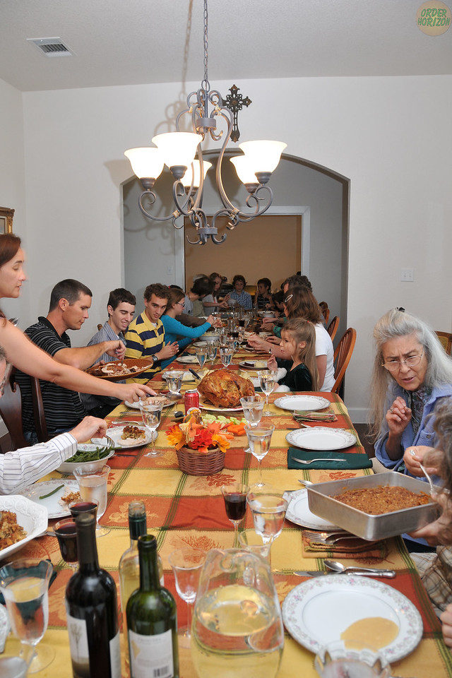 Long Thanksgiving table.