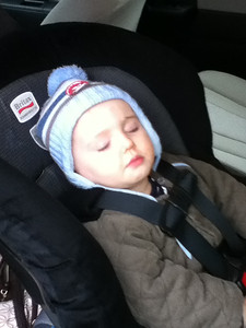 Theo conked out in the car after a big day.