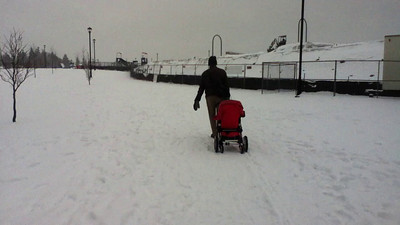 Stroller in the snow