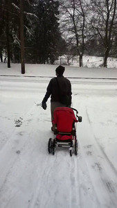 Walking from the park in the snow
