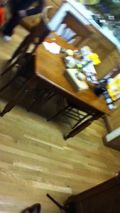 Running laps around the kitchen table at grandparents' house
