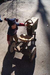 Testing out the borrowed tractor