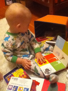 Reading books in his room
