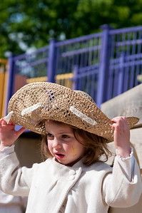 "Clementine Huck enjoying a self decorated hat at the University City Children's Center ""Eggstravaganza"""