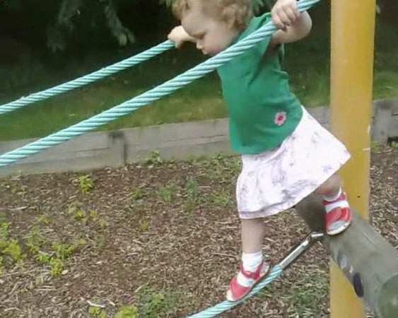 Bethan demonstrates her rather scary playground skills at 2 years 9 months