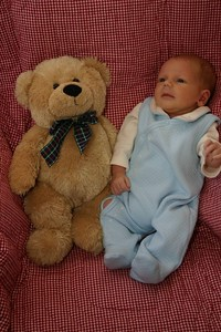 William is the same size as his bear.