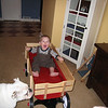 I think he likes his wagon!!