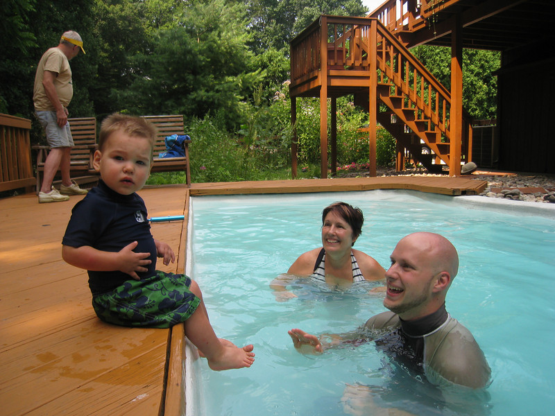 First time swimming at Great Aunt Carol's!  Hopefully he will spend more time in the pool next time...