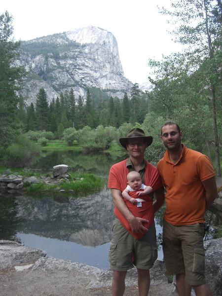 With dad and Uncle Robin at Mirror Lake, Yosemite