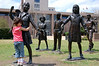 These are just some statues outside the capital building, of school children coming to visit. Zoey made friends with them.