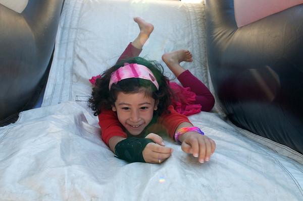 Down the bouncy slide!