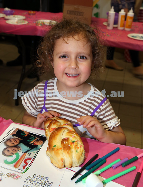 Childrens Challa Bake for The Shabbat Project held at OBK in conjunction with JEMS which attracted over 50 children. Shayna Kavonic with her freshly baked challah.
