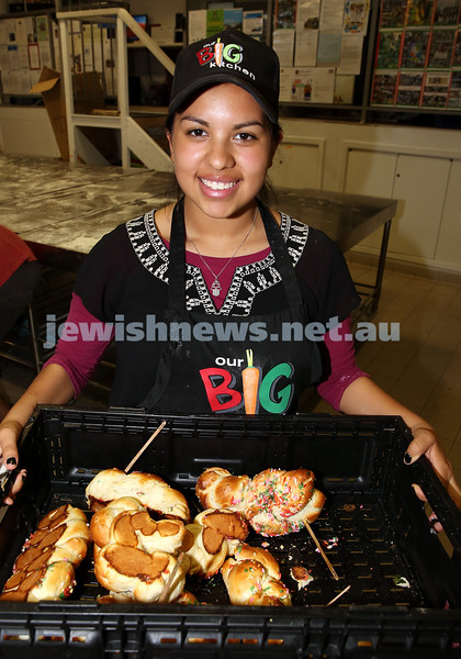 Childrens Challa Bake for The Shabbat Project held at OBK in conjunction with JEMS which attracted over 50 children. Natalie Weinberg with a crate of freshly baked challah.