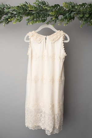 Cream Lace Pearl Dress (size 4t) BACK