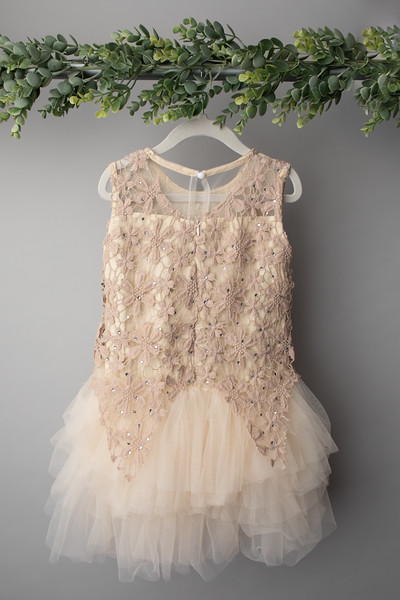 Cream Star Lace Dress (size 6 years) BACK