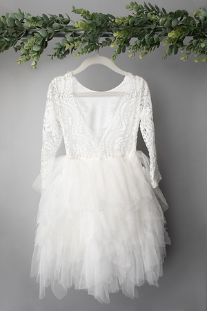 White Long Sleeve Dress (size 2t) BACK
