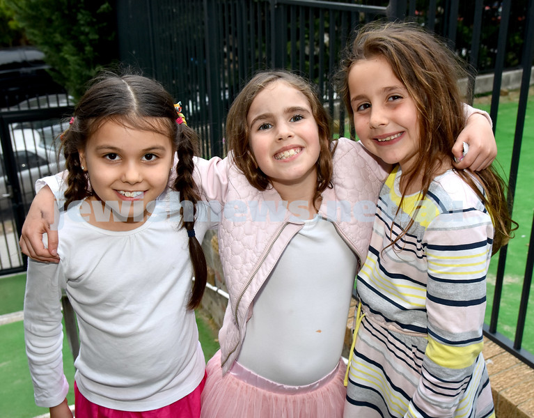 Childrens Succot Rally at Tzemach Tzedek Synagogue. From left: Chaya Ben-David, Simi Moss, Railea Raskin. Pic Noel Kessel