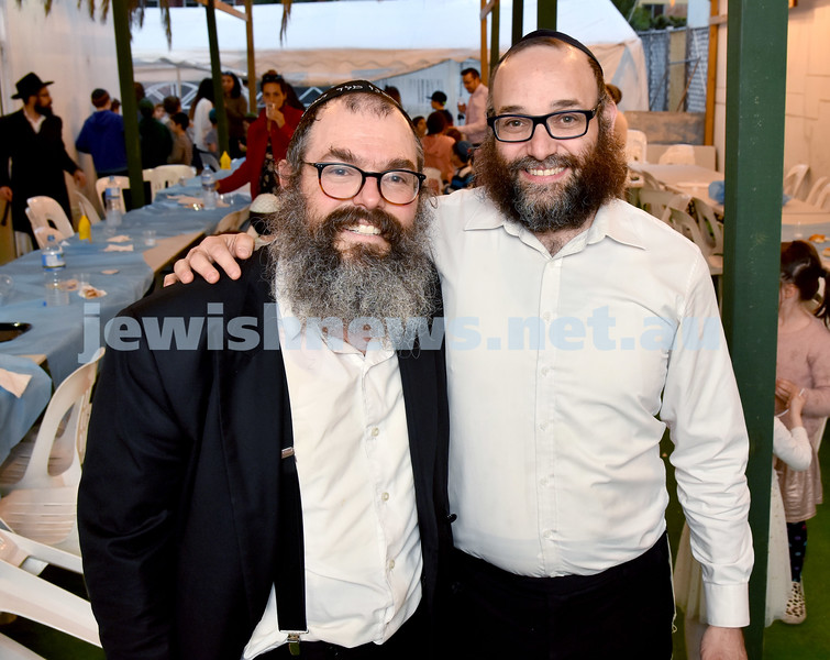 Childrens Succot Rally at Tzemach Tzedek Synagogue. Rabbi Yehuda Straiton (left), Rabbi Yehuda Spielman. Pic Noel Kessel