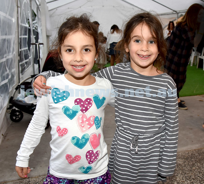 Childrens Succot Rally at Tzemach Tzedek Synagogue. Rochel Gopin (left), Pearl Moss. Pic Noel Kessel