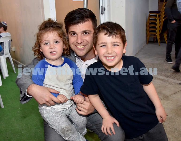 Childrens Succot Rally at Tzemach Tzedek Synagogue. From left: Levi, Yitschak, Zac Garson. Pic Noel Kessel