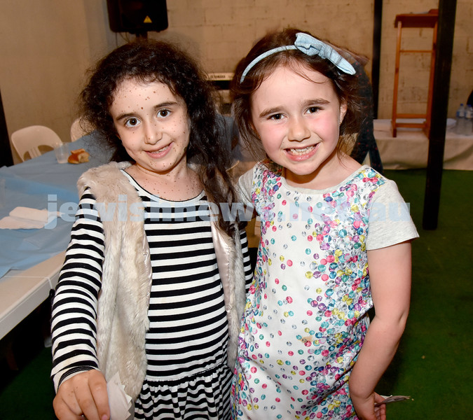 Childrens Succot Rally at Tzemach Tzedek Synagogue. Shainy Chaiton (left), Mia Chaiton. Pic Noel Kessel