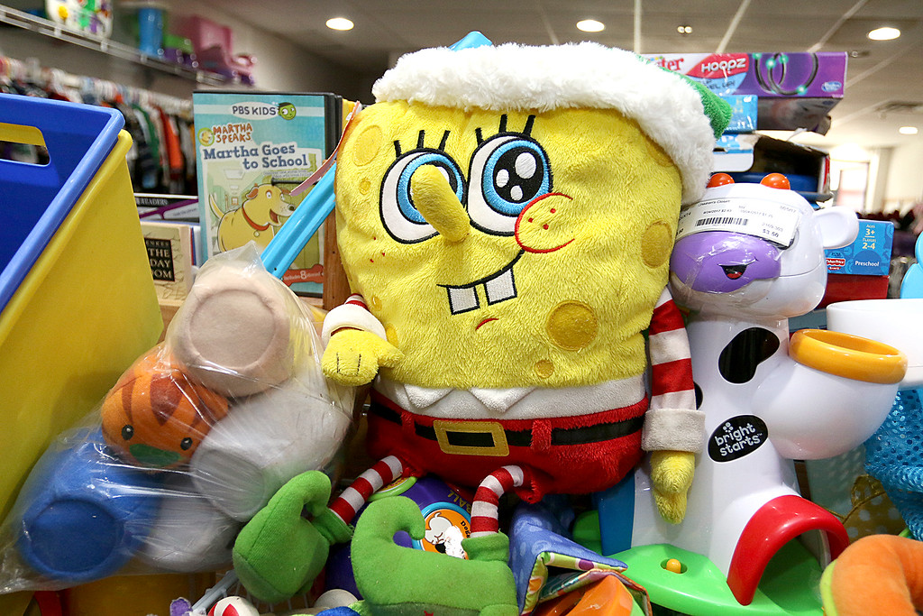 . Children\'s closet, a consignment store for kids has opened this week on Main Street in Fitchburg. Sponge Bob is one if the stuffed animals that can be found in the store dressed in his Christmas attire. SENTINEL& ENTERPRISE/JOHN LOVE