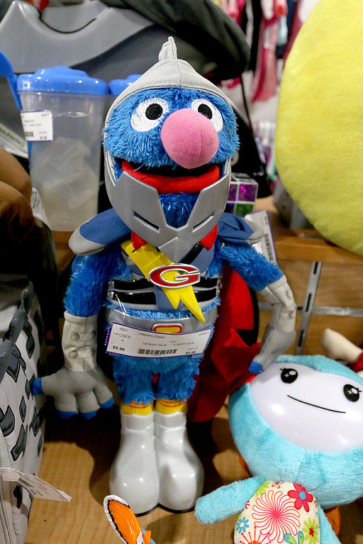 . Children\'s closet, a consignment store for kids has opened this week on Main Street in Fitchburg. Super Gover, from Sesame Street, sits on one of the shelves in the new store. SENTINEL& ENTERPRISE/JOHN LOVE