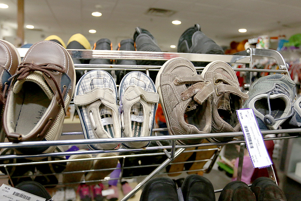 . Children\'s closet, a consignment store for kids has opened this week on Main Street in Fitchburg. Just a few of the shoes sold in the store. SENTINEL& ENTERPRISE/JOHN LOVE