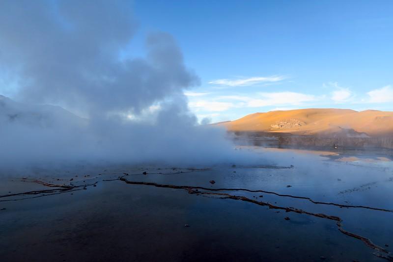 Steam rising from the howe springs in El Tatio