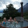 Jenna, Suzanne & Brian enjoying a wood fired hot tub after a great day of hiking.