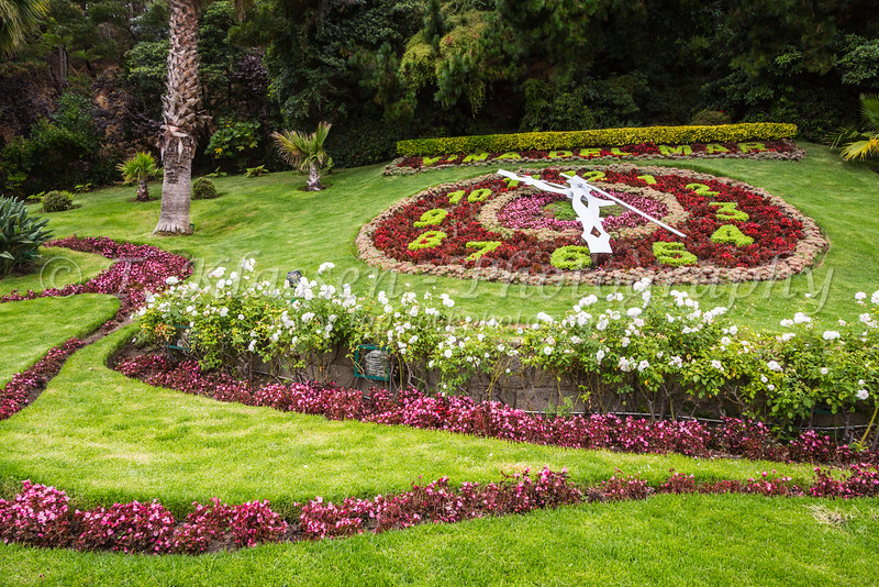 A floral clock in the gardens of Vina del Mar, Chile, South America.