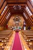 The interior sanctuary of the wooden church in Curaco de Velez village, Chile, South America.