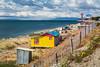Rustic fishing shacks on the Strait of Magellan near Punta Arenas, Chile, South America.