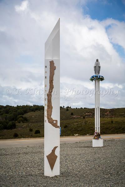 A Chilean maritime monument near Punta Arenas, Chile, South America.