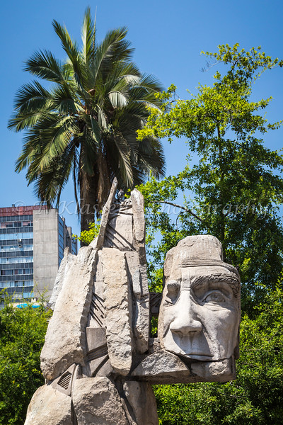 A Monument to the Indigenous People in Plaza de Armas, Santiago, Chile, South America.