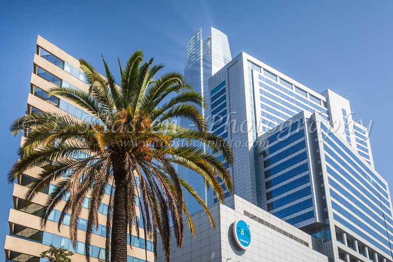 The Great Santiago Tower and the Costanero Center shopping complex in Santiago, Chile, South America.